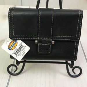 NWT Fossil Black Leather Trifold Glove Wallet